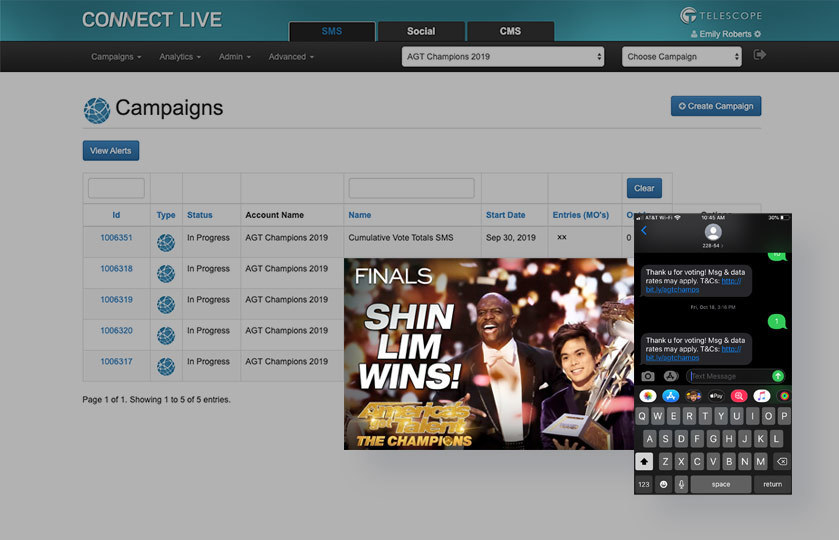 Connect Live campaign view with AGT Champions winner CTA and SMS flow