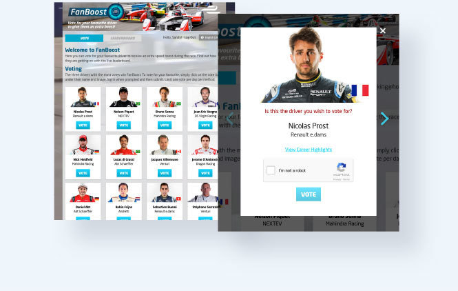 Formula E Standard vote with landing page of multiple contestants and vote modal with reCAPTCHA