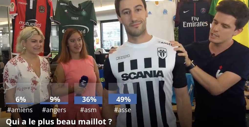 FB livestream of guy wearing jersey and graphics with audience poll results