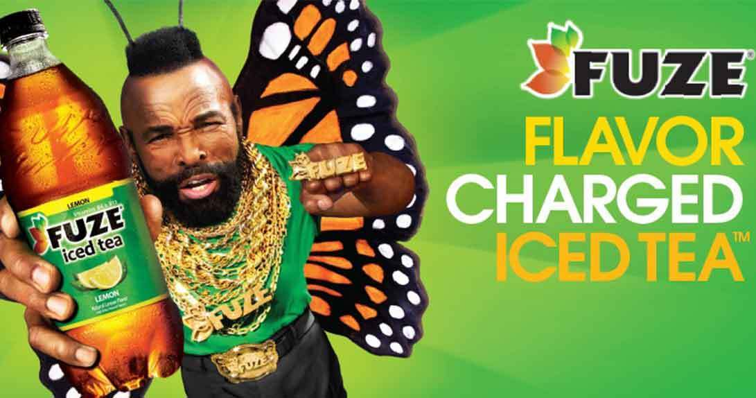 Mr. T with butterfly wings holding Fuze tea