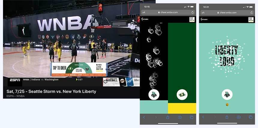 WNBA tap to cheer product