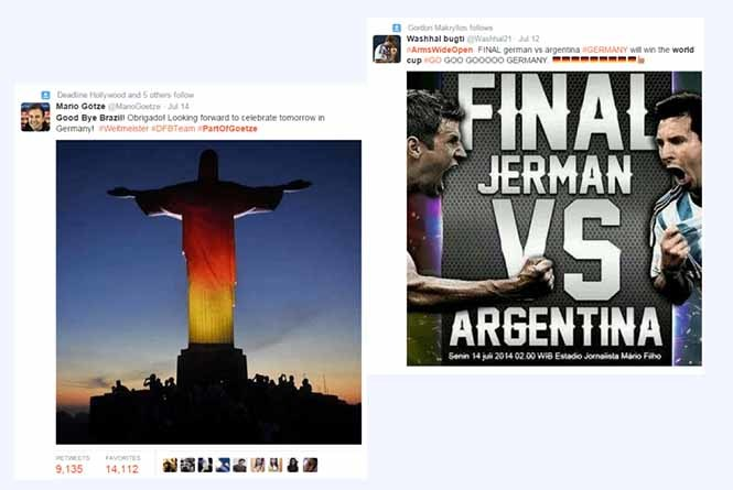 Tweets promoting the Twitter battle and world cup match up