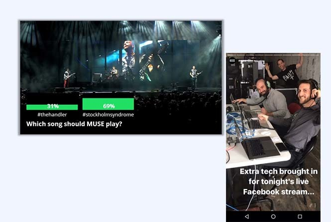 Live stream with on-screen graphic and backstage view of streaming