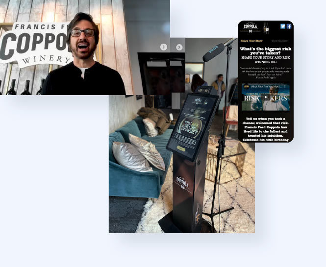 Image of Ray Romano using Uploader and image of uploader on kiosk at Sundance and in mobile view