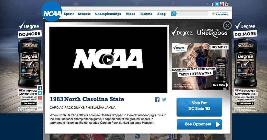 NCAA game video player