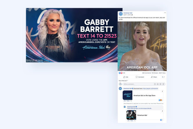 Call to action image for contestant including the native app and social post featuring Katy Perry talking about the native app