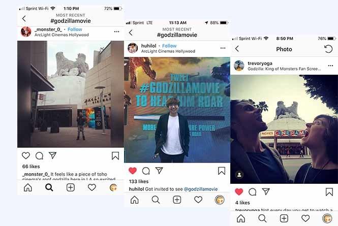 Instagram posts of the Godzilla installation