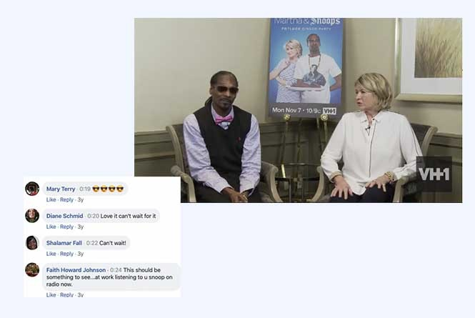 FB live stream of Snoop Dogg and Martha Stewart with FB comments