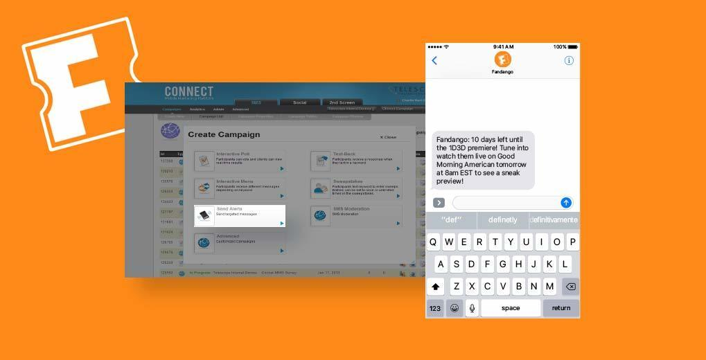 Fandango text message and image of connect platform