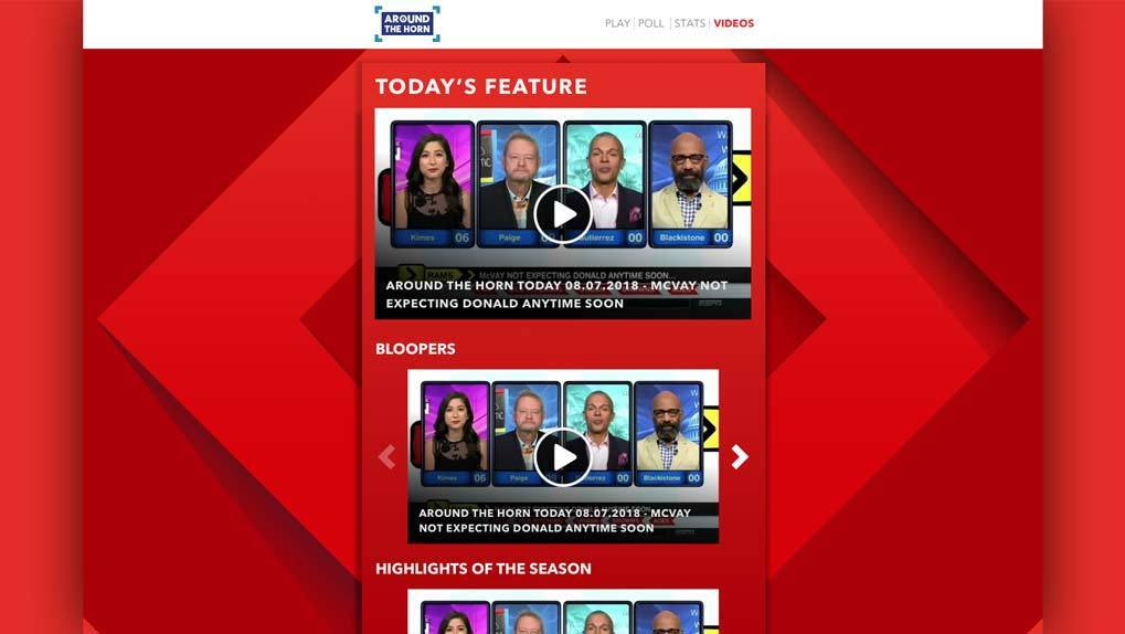 View of Around The Horn Webpage with video carousels visible