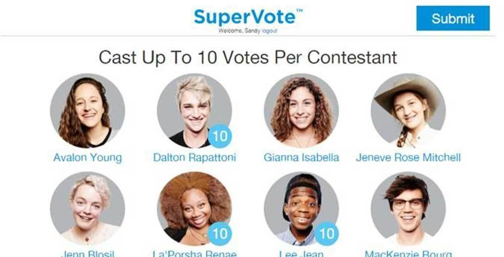 SuperVote site and shows contestants you can vote for