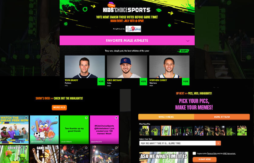 Kids Choice Sports Awards with Easy Meme, Standard Vote and Fan Feed