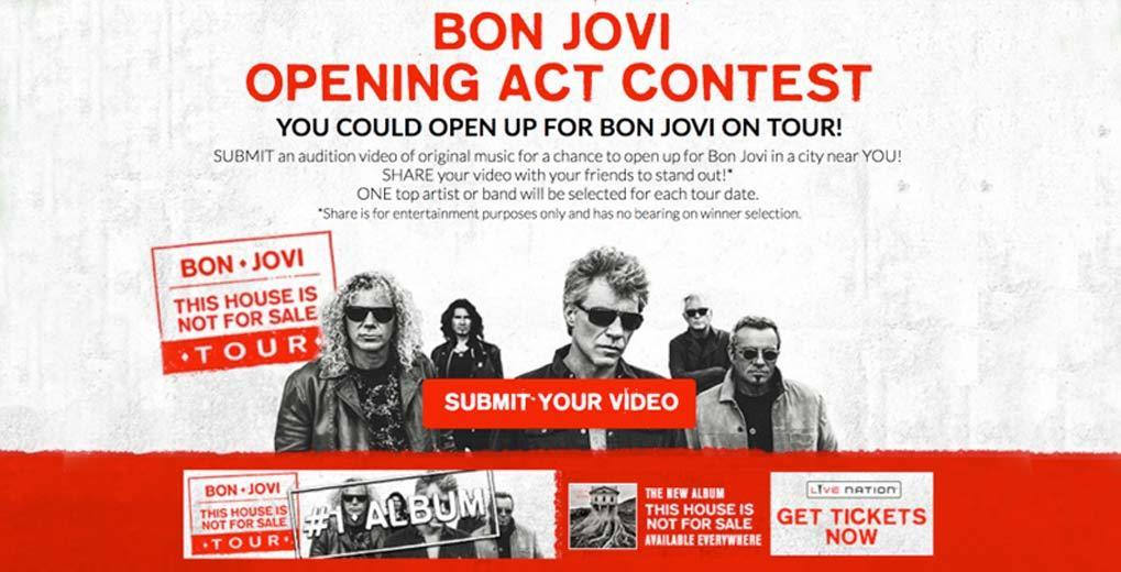 Bon Jovi Contest Poster and call to Submit Your Video to be considered as an Opening Act