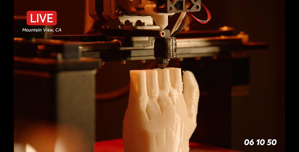 Live stream of 3D printer printing a prosthetic hand