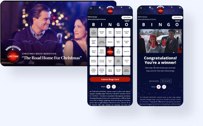 Lifetime Bingo promotion, game card, and winning results screen