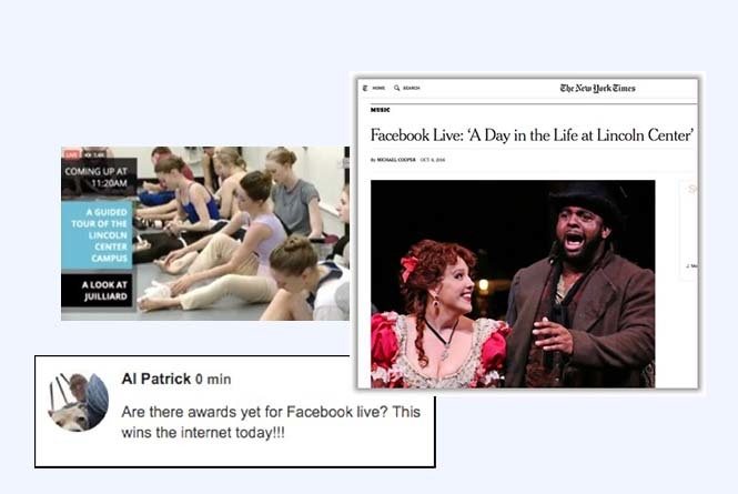Live stream of ballet dancers sitting on floor and NYT article coverage and FB comment