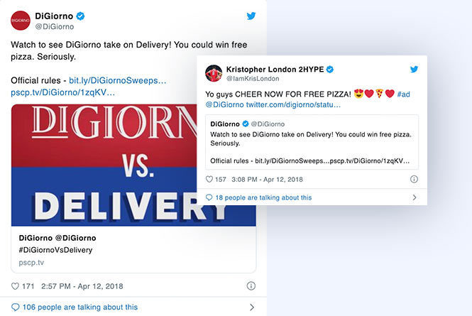 Twitter posts and comments about DiGiorno vs Delivery