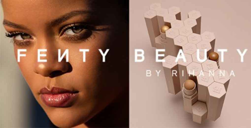 Closeup of Rihanna's face and Fenty lipsticks