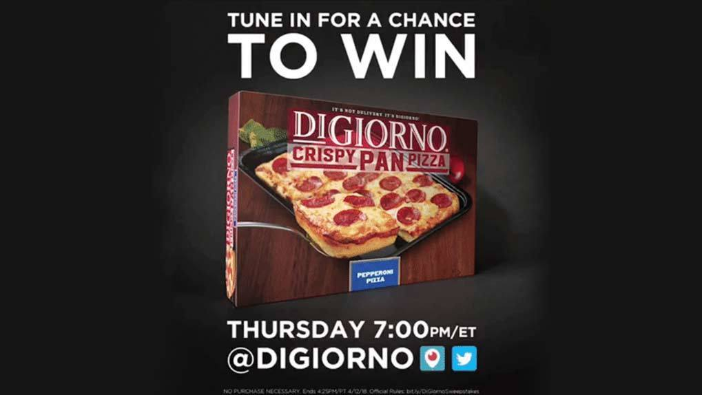 Call to action with box of DiGiorno pizza