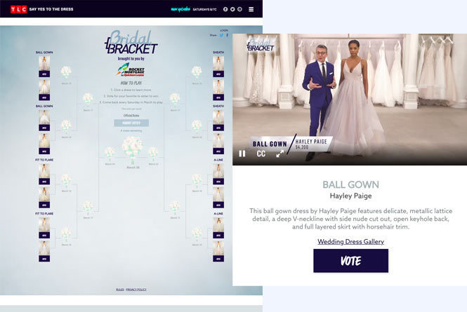Landing page and individual preview pop up with Ball Gown dress candidate calling to Vote