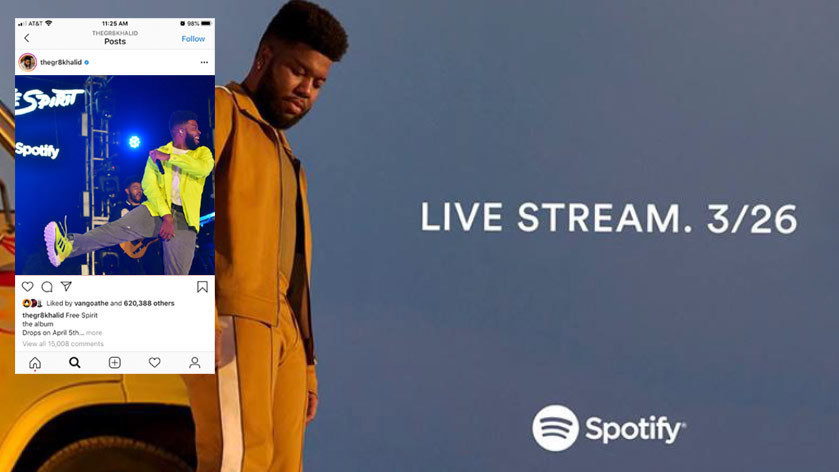Image of singer Khalid with text promoting Spotify-sponsored live stream with inset screen shot of Instagram app showing Khalid perform.