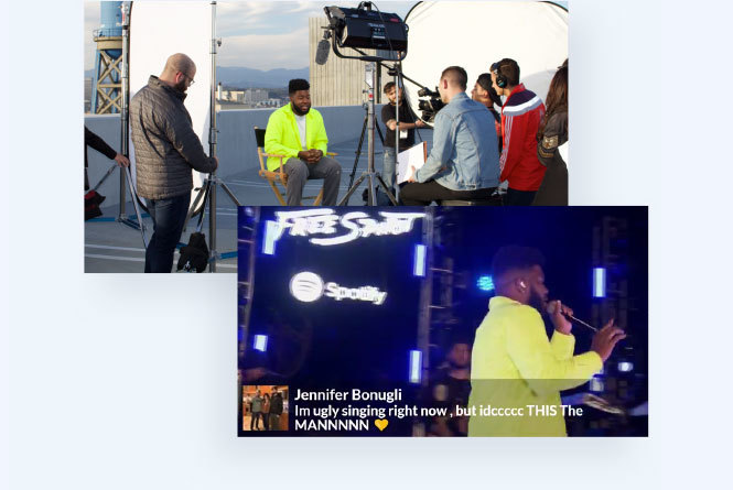 Images of Khalid doing interview with film crew and performing on stage with social post overlay graphic
