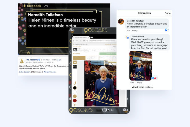 Social post images on tablet devices with photo of actress Helen Mirren and her autograph overlaid