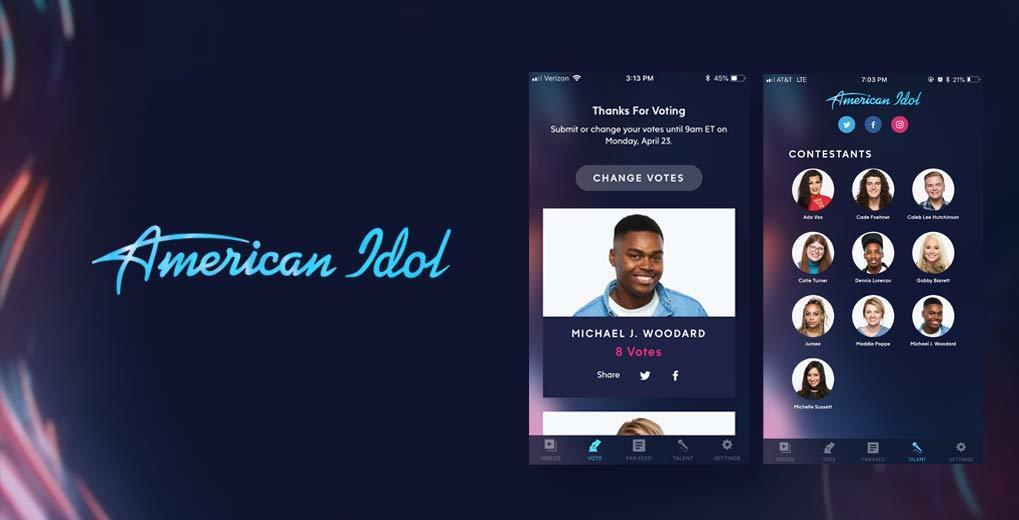 American Idol logo with voting app showing ten contestants and zoomed in on one contestant