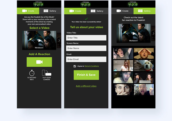 Hulu Freakish video reaction step by step user flow
