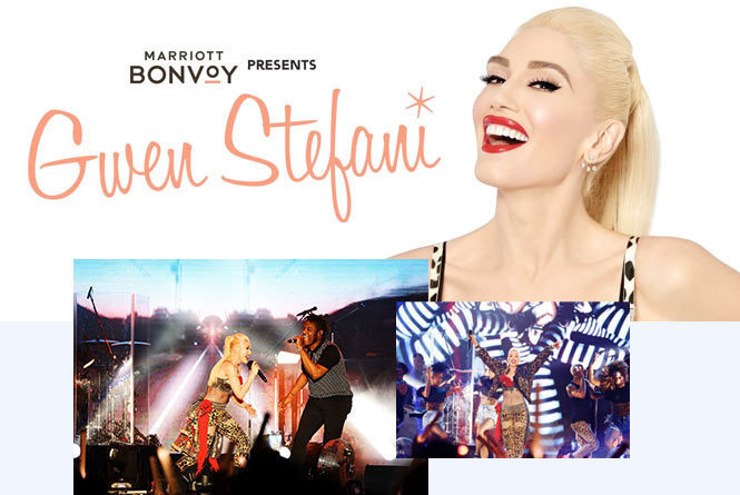 Images of Gwen Stefani and her performance on stage