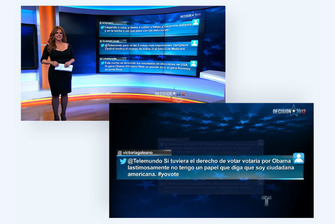 Host in front of screen with tweet comments from viewers and close up on one tweet
