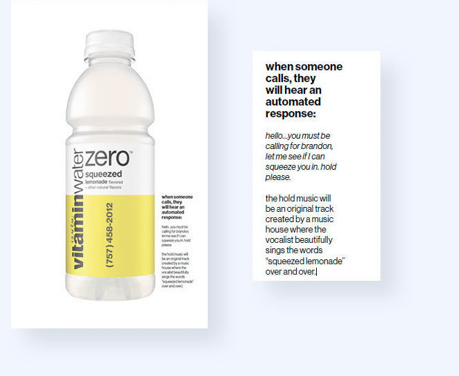 Vitamin Water lemonade bottle with toll-free number on it