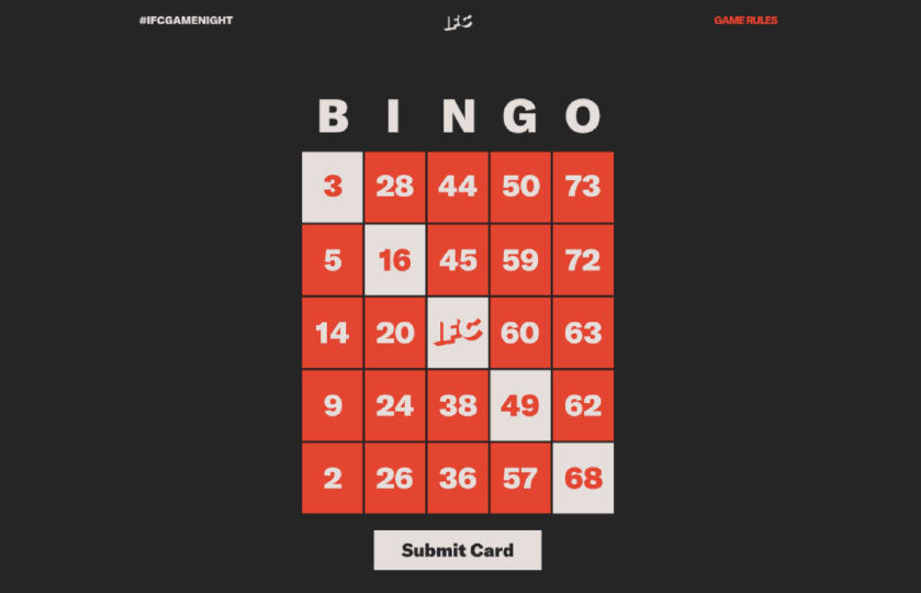 IFC Game night bingo card with 5 numbers diagonally selected