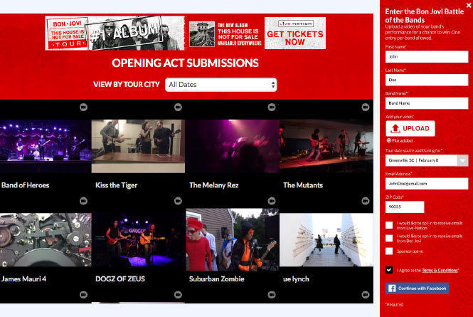 Wall of band videos up for consideration as well as the form to upload your video and band info