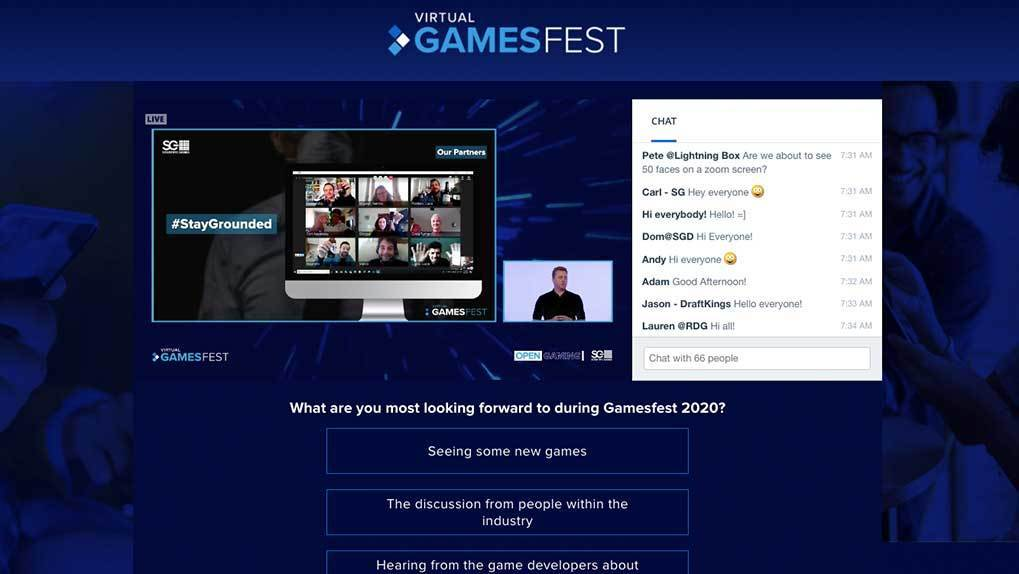 virtual gamesfest live stream and chat