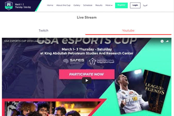 Desktop landing page with CTA to watch on Twitch or YouTube