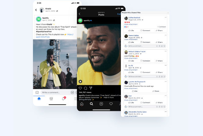 Mobile devices featured with social posts from spotify around the event with a close up image of Khalid's face