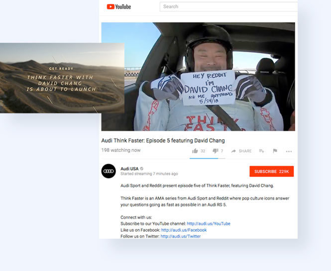 Image promoting Audi's Think Faster campaign with David Yang and screenshot of David Yang on the YouTube Studio