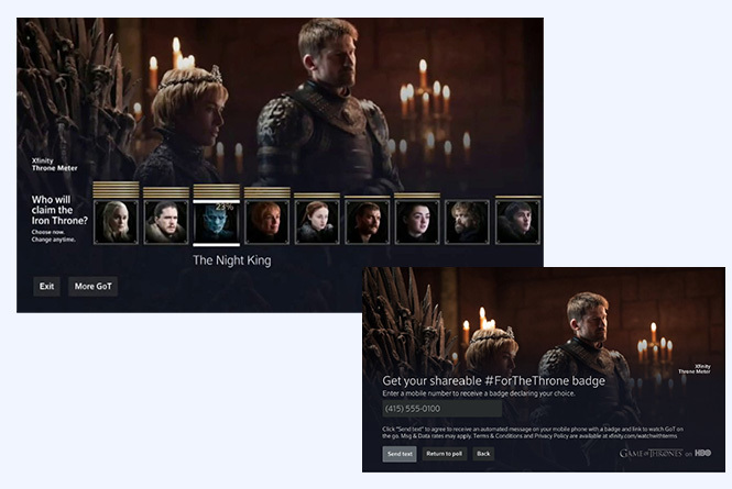 Game of Throne polling and shareable badge functionality