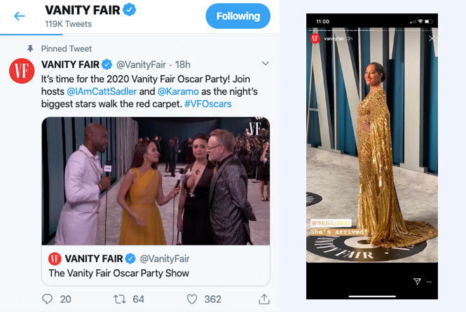 Vanity Fair Oscar Party lives stream Show inside twitter with hosts Karamo Brown and Catt Sadler. And Vanity Fair promotion of event inside Instagram story