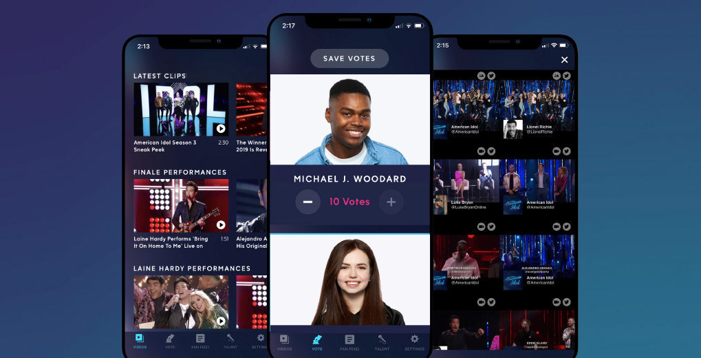American Idol Native App featuring the vote, fan feed and behind the scenes videos