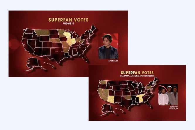 Super Fan vote data displayed across map for contestants
