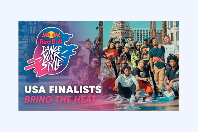 Red Bull Dance Your Style Logo with group photo of performers posing