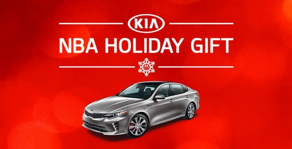 KIA NBA Holiday Gift promotion image with KIA car