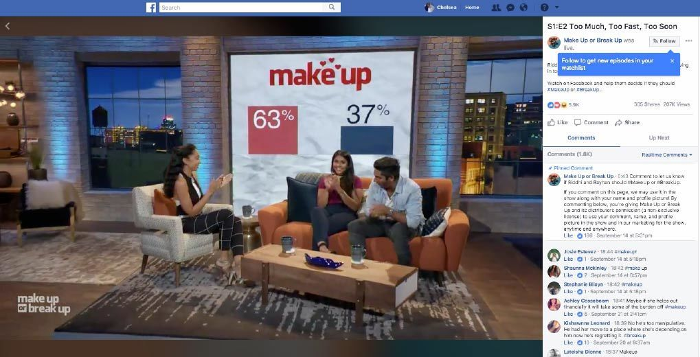 shannon boodram and couple sitting on couch with bar graph of make up or break up in the back screen