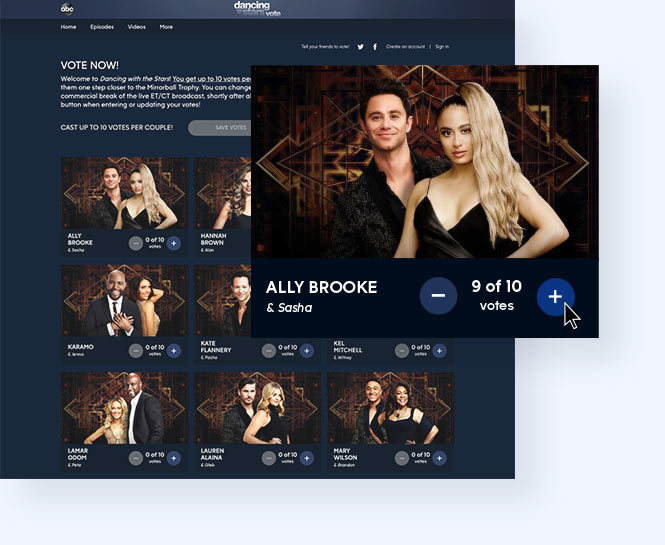 "Example of ""Dancing With The Stars"" online voting page and specific contestant vote with option to assign multiple votes"