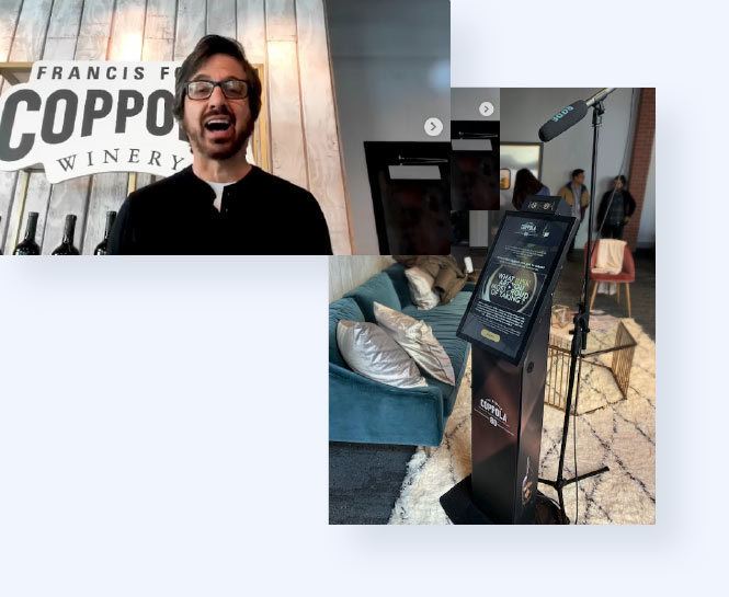 Actor Ray Romano uploading his video and image of the custom branded kiosk with the Uploader application open in the Hollywood Reporter room at Sundance