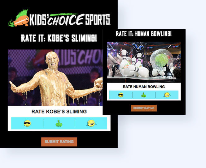 Two screenshots of the rating game experience including the page to rate Kobe Bryant's slime and human