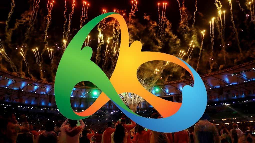Rio Olympic logo over stadium photograph