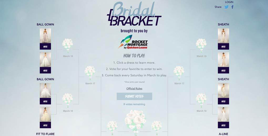 Bridal Bracket Landing page with full wedding dress bracket vote